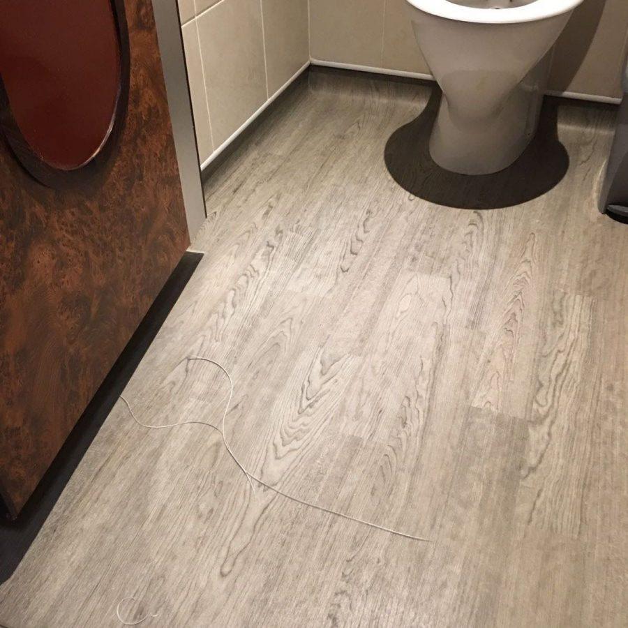 toilet wood effect flooring installed