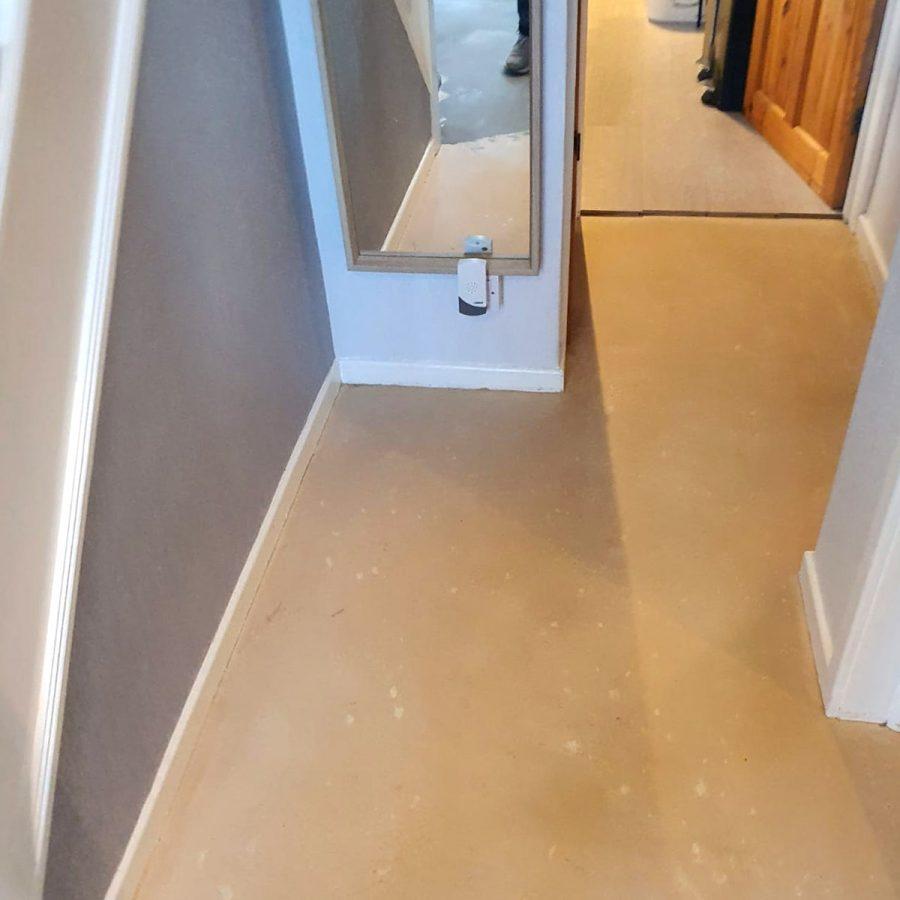 screened floor before cushion flooring is laid